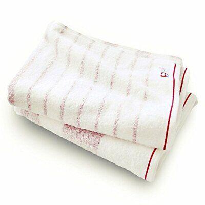 Bloom Imabari Towel Natural Border Bath Towel 2 Set red NEW from Japan