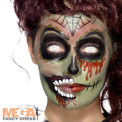 Day of the Dead Zombie Make Up Fancy Dress Halloween Undead Skull Costume Kit - Day Of The Dead Halloween Costume Makeup