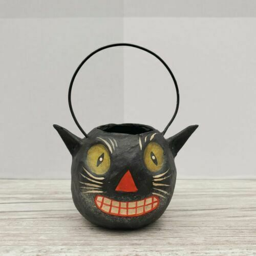 Bethany Lowe Designs Mini Halloween Bucket Ornament Black Cat