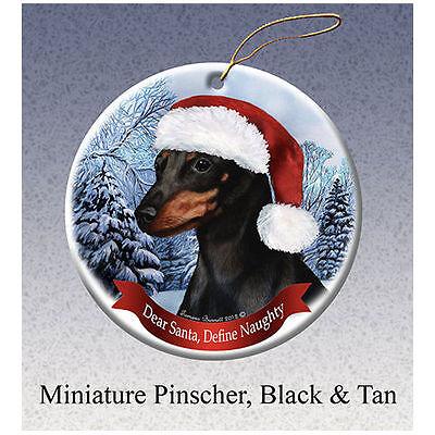Miniature Pinscher Black Howliday Porcelain China Dog Christmas Ornament