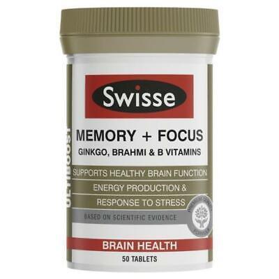 Ginkgo 50 Tab (SWISSE MEMORY + FOCUS ULTIBOOST 50 TABLETS BRAIN HEALTH ENERGY STRESS)