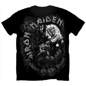 IRON-MAIDEN-Number-Of-The-Beast-T-shirt-Black-Greytone-New-Official-Eddie