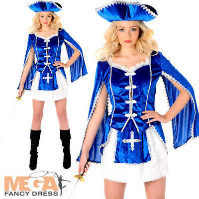 Musketeer Girl Ladies Fancy Dress Medieval Book Day Week Womens Adults Costume