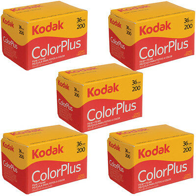 5 Rolls Kodak Color Plus 200 35mm Negative Film ColorPlus 135-36 exp. FRESH