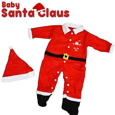 Vestito Babbo Natale Baby Vestitino Completino Costume Per Bambini Pile Rosso