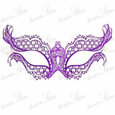 Purple Laser Cut Metal Womens Mardi Gras Venetian Masquerade Mask - Purple Mardi Gras Mask
