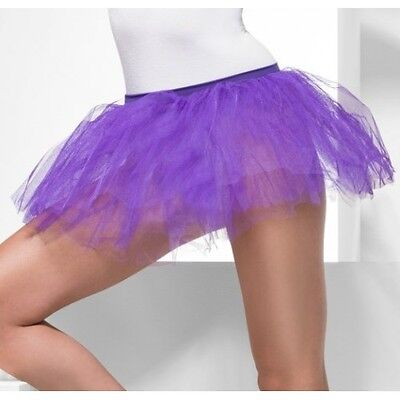 Womens Purple Layered Tutu Under Skirt Petticoat Crinoline Elastic Waist Adult