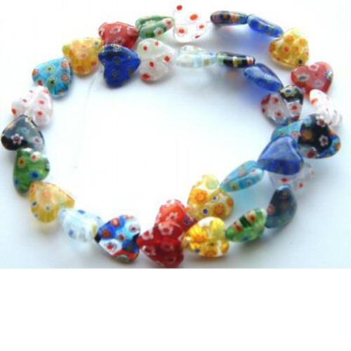 M12-Multi Hearts 12mm Millefiori Lampwork Beads