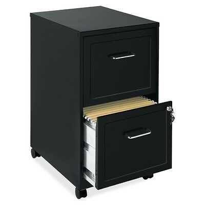 Lorell 16872 2-drawer Mobile Steel File Cabinet 18 Depth Locking Drawer Black