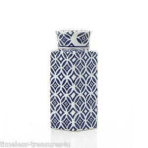 LOVELY HAMPTONS STYLE CLASSIC BLUE AND WHITE/CREAM TALL CERAMIC GINGER JAR