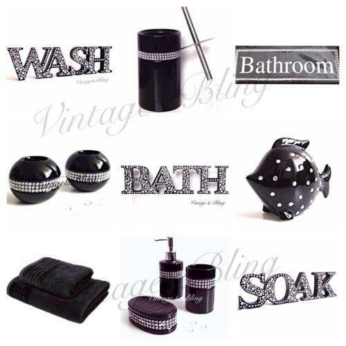 Bling bathroom home furniture diy ebay for Black bling bathroom accessories
