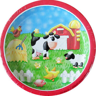 BARNYARD On the Farm SMALL PAPER PLATES (8) ~ Birthday Party Supplies Cake - Barnyard Birthday Supplies