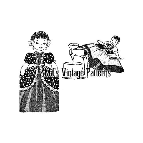 Vintage Mixer Cover Doll Pattern ~ Colonial Girl