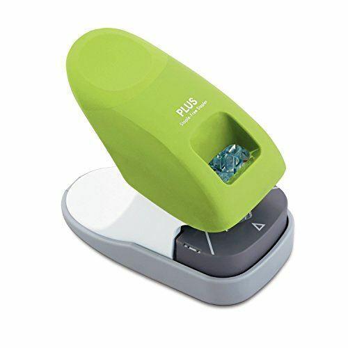 PLUS Paper Clinch Desktop Staple-Free Stapler, Green (31261)