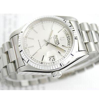 Vintage Bulova Super Seville Automatic Day Date White Silver Duble Mens Watch