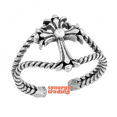 .925 Sterling Silver Classic Iron Cross Rope Design Adjustable Toe Ring NEW