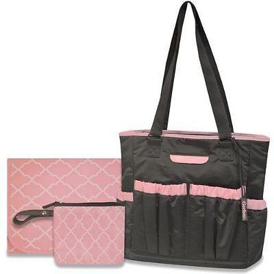 ~NWT Girls GERBER 3-PC Large Diaper Bag/Tote with Changing Pad Cute FS:)~ Gerber Diaper Bag