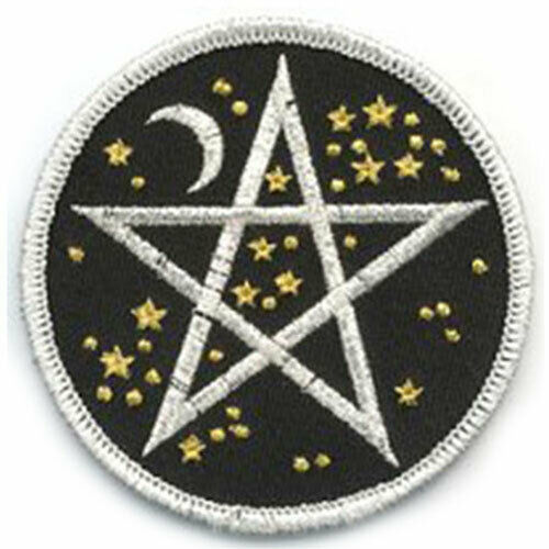NEW Celestial Pentagram Embroidered Patch Wicca Star & Moon Starry Pentacle
