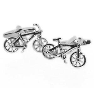 Silver Bicycle Cufflinks With Gift Pouch Cycle Cyclist Bike Biker Present New