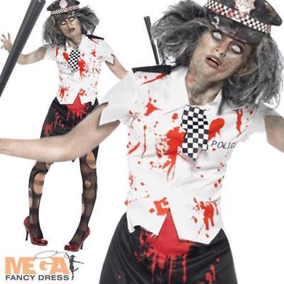 Zombie Policewoman Cop Halloween Ladies Fancy Dress Adults Police Womens Costume - Zombie Cop Costume