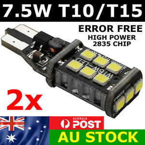 2x 7.5W 2835 LED T10 T15 Parker Wedge W5W 921 Light Bulb CANBUS Error Free 800lm