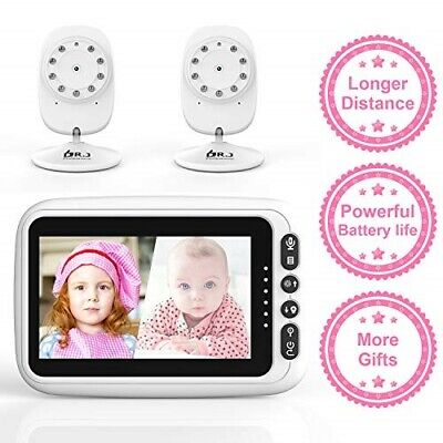 """2 Cameras with 4.3"""" Video Baby Monitor,Auto-Switch 2-Way Talk, Night Vision"""