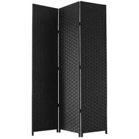 Black Free Standing Woven Paper Folding Decorative Screen