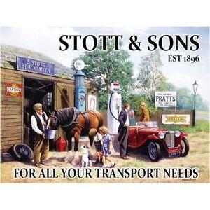 Stott & Sons Garaje,Vintage MG Car,Blacksmith,Grande De Metal/Muestra De La Lata