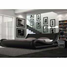 Luxury leather Italian design king size bed w/o mattress for sale