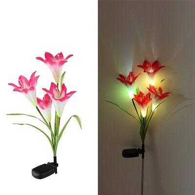 Solar Power 4 LED Garden Light Yard Path Landscape Lily Flower