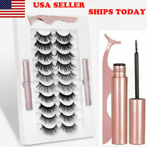 10 Pairs Magnetic Waterproof 2 Eyeliner Eyelashes Natural Tweezer Long Lashes
