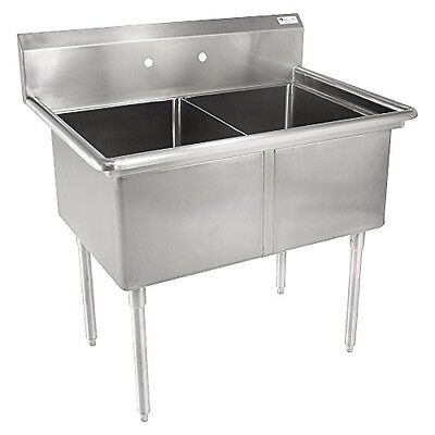 John Boos Stainless Steel Wash Sink - Without Faucet - Double Bowl - 18x18