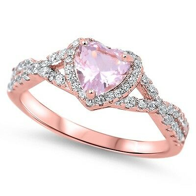 Sterling Silver 925 HEART LOVE KNOT PINK MORGANITE CZ PROMISE RING 8MM SIZE 4-11