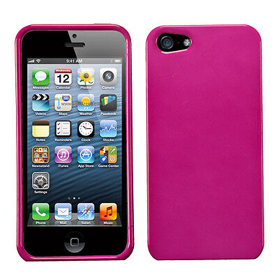 Hot Pink Apple iPhone 5 5S SE Faceplate Protector Plastic Hard Case Snap Cover