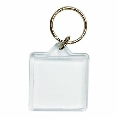 - 10 x KEVRON ID57 Clear Acrylic Photo Key Tag With Key Ring-40mm x 40mm-FREE POST