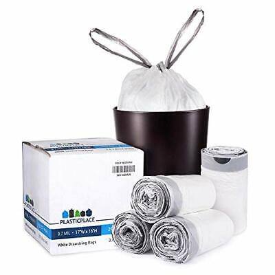 Plasticplace W4DSWH 4 Gallon White Drawstring Bags 200 Count