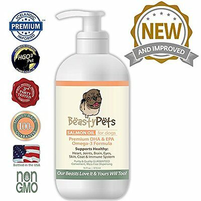 Salmon Oil Dogs with Non Soy Vitamin E from Beasty Pets GMO Fish High Quality