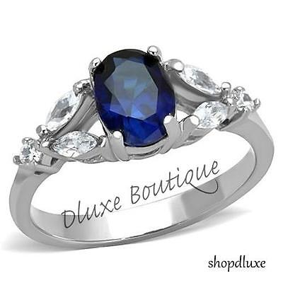 Women's Oval Cut Blue Montana Sapphire CZ Stainless Steel Ring Band Size -