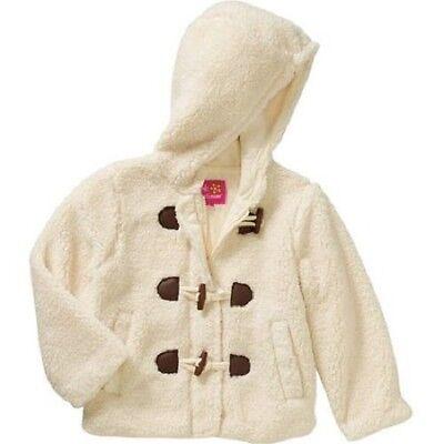 New Girls Toggle Front Sherpa Coat Jacket Pockets Lined Hooded Tusk size 6X - Girls Sherpa Jacket