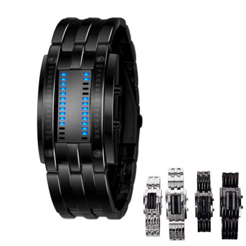 $6.31 - Luxury Stainless Steel Band LED Digital Watch Date Hour Bracelet Sport Watches H