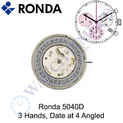 Genuine Ronda 5040D Watch Movement Swiss Parts 3 Hands, Date at 4 Angled