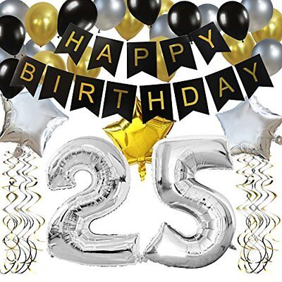Happy Brithday Banner (KUNGYO Classy 25TH Birthday Party Decorations Kit-Black Happy Brithday)