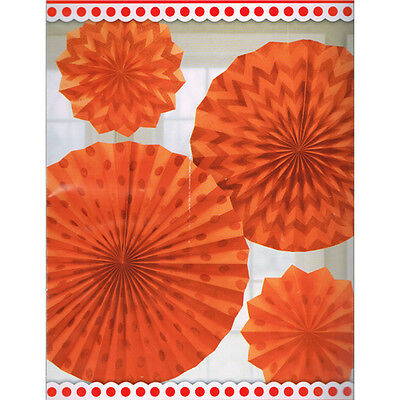 ORANGE PRINTED GLITTER FAN DECORATIONS (4) ~ Birthday Party Supplies Shower - Orange Party Decorations