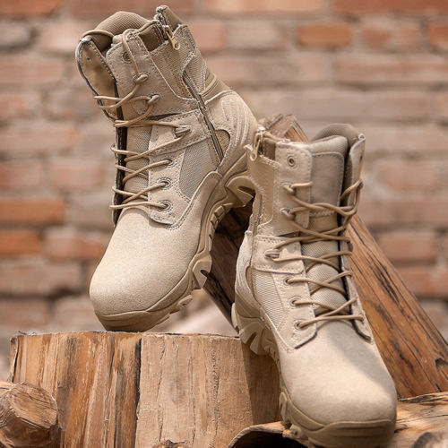 1de4c612332 Outdoor Men Leather Tactical Boots Military Combat Army Desert SWAT ...