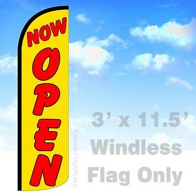 Now Open - Windless Swooper Feather Flag 3x11.5 Banner Sign - Yq