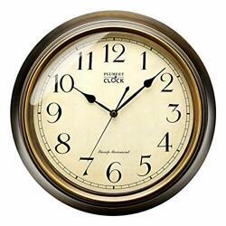 Plumeet Large Retro Wall Clock - 13'' Non Ticking Classic Arabic Numerals