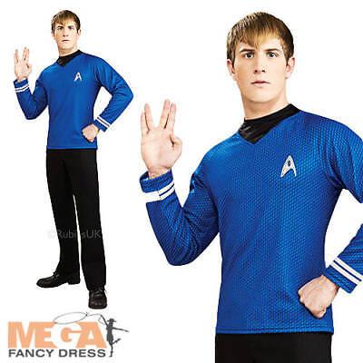 Deluxe Dr Spock Shirt Mens Fancy Dress Star Trek Blue Uniform Adults Costume New