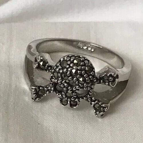 Marcasite Skull Ring Silver Tone Edco size 7 Punk Goth Nyctophilia Biker Pirate
