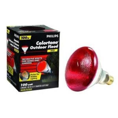 RED Philips Colortone 100W Red Outdoor Flood Light 100PAR/R Christmas Halloween  - Halloween Outdoor Flood Lights