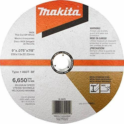 """Makita B-12675 9"""" x .075"""" x 7/8"""" INOX Thin Cut-Off Wheel, 60 Grit"""